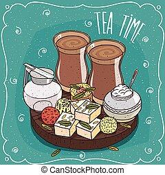 차, chai, 전통적인, 단 것, 아시아 사람, masala