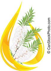 차, oil., 내리다, -, stylized, 나무., melaleuca, 정수의
