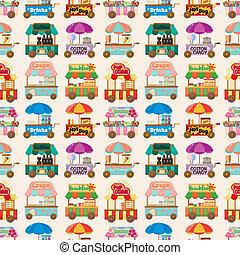 차, seamless, 시장, 패턴, 만화, 상점