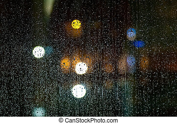 착색되는, 떼어내다, 비, bokeh, 유리, 교통 신호, 배경, 은 떨어진다, 밤