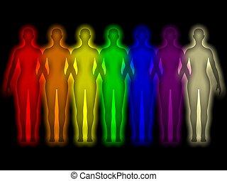 착색되는, 인간, 미풍의 상징, -, 에너지, 몸