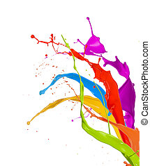 착색되는, 페인트, 튀김, 고립된, 백색 위에서, 배경