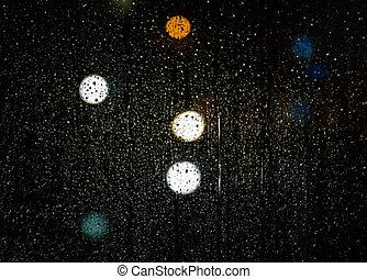 착색되는, bokeh, 떼어내다, 유리, 비, 교통, 밤, 빛, 은 떨어진다, 초점, 배경, 나가