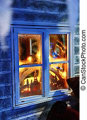 창문, 크리스마스 훈장, 서리로 덥는