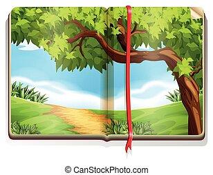 책, 와, 시골, 장면