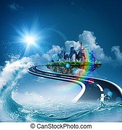 천국, 떼어내다, 배경, 환경, 디자인, 너의, 길
