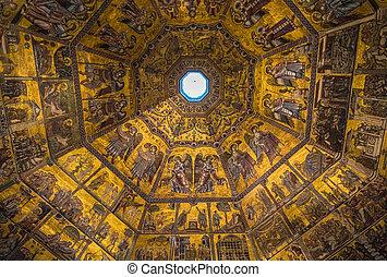천장, 이탈리아, 코이산족, giovanni, 세례장, 웅대한, tuscany, 피렌체, 모자이크
