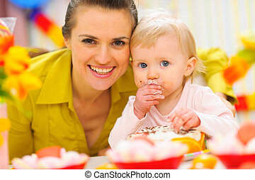 첫번째 생일, 어머니, 아기, 파티, 축하, 행복하다