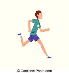 청년, 달리기, 능동의, 건강한 생활양식, 개념, 만화, 벡터, 삽화, 통하고 있는, a, 백색 배경