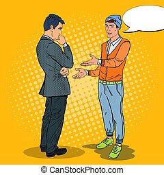청년, 말하는 것, 와, businessman., 팝 아트, 벡터, 삽화