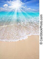 청록색의, 캐러비안, 광선, 바다, 태양, 바닷가
