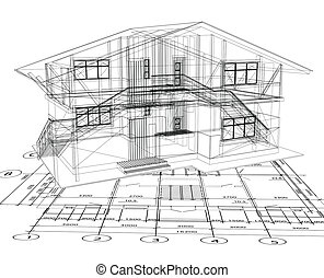 청사진, 벡터, house., 건축술