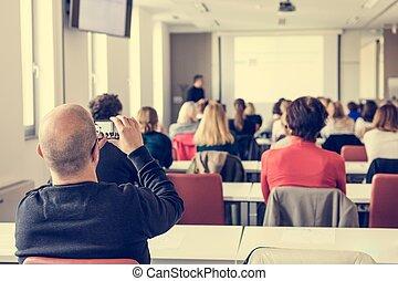청중, 에, a, 사업, conference.