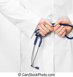 청진기를 쥐고 있는 박사, 남아서, 그의 것, 밀려서, -, 건강 관리, 개념