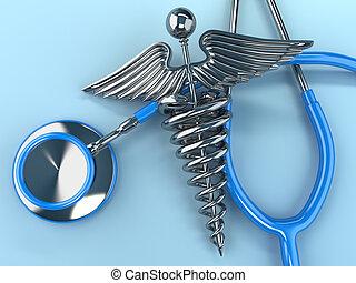 청진기, 와, 헤르메스의 지팡이, 상징., 3차원