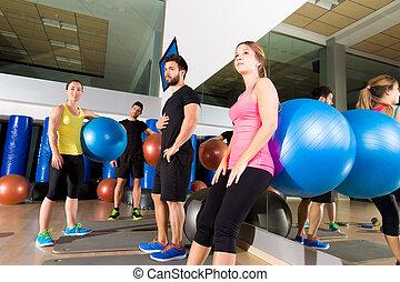 체조, 사람, 그룹, 은 이완했다, 후에, fitball, 훈련