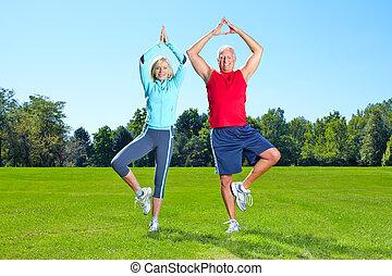 체조, 적당, 건강한, lifestyle.