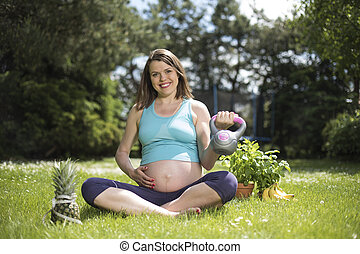 체조, 적당, 여자, 건강한 생활양식, 개념