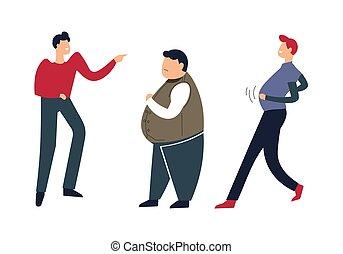 초과 중량, 사람, 아래로 가는 것, 거리 사람, 비웃는 것, 지방, 남성