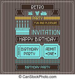 초대, 카드, 치고는, 생일, 에서, retro, style.