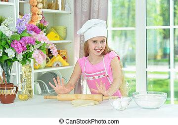 초상, 소녀, 빵 굽기, 나이 적은 편의, 부엌