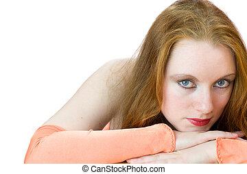 초상, 의, 붉은머리딱따구리, 여자, 와, 오렌지, 장갑, 고립된, 백색 위에서