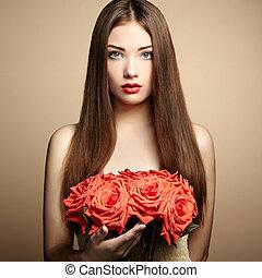 초상, 의, 아름다운, 검은 머리 여자, 와, 꽃