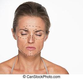 초상, 의, 여자, 와, 성형 수술, 기호, 통하고 있는, 얼굴