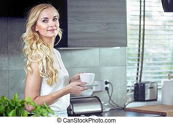 초상, 의, 자형의 것, 숭비할 만한, 젊은 숙녀, 마시는 커피