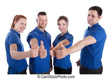 초상, 의, 행복하다, 관리인, 전시, 위로 엄지손가락, 표시