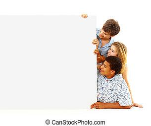 초상, 의, 행복하다, 남자와 여자, 서 있는, 와, a, 빌보드, 향하여, 백색 배경