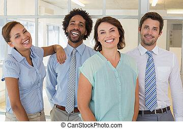 초상, 의, 행복하다, 실업가, 에서, 사무실
