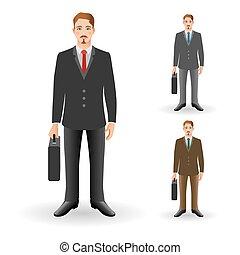 초상, 의, 행복해 미소 짓는 것, 실업가, 또는, 청년, 서 있는, 와..., 보유, briefcase.