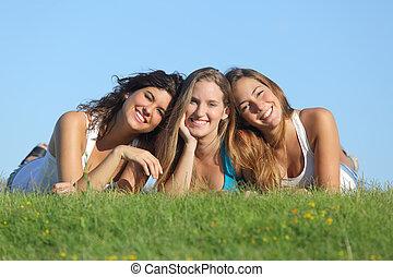 초상, 의, a, 그룹, 의, 3, 행복하다, 열대의 소년, 소녀, 미소, 초지에 있는 것