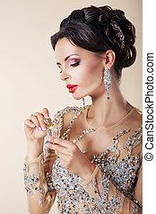 초상, 의, luxurious, 코카서스 사람, 여자, 와, 향수, bottle.