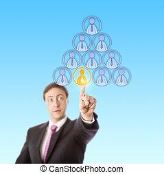 초점을 맞추는, 매니저, 선정, a, 노동자, 에서, a, 피라미드