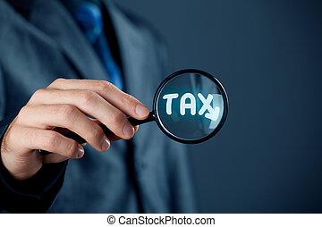 초점을 맞추는, 통하고 있는, 세금