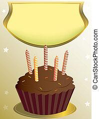 초콜릿 과자, 생일, 플래카드, 컵케이크