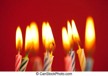 초, 생일, 빨강 배경