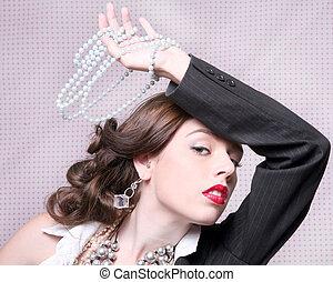 최신 유행스타일, 머리 탄, 의, a, retro, 여자