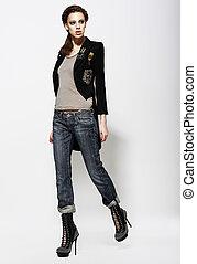 최신 유행의, 매력적이다, 여자, 에서, jeans, 와..., 높은, boots., 유행, 스타일