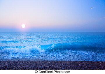추상 예술, 아름다운, 빛, 바다, 여름, 배경
