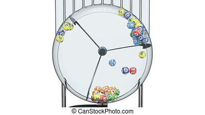 추첨, 기계, 와, 추첨, 공, 내부, animation., 3차원, 지방의 정제, 고립된, 백색 위에서,...