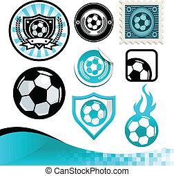 축구, 디자인, 공, 연장 상자