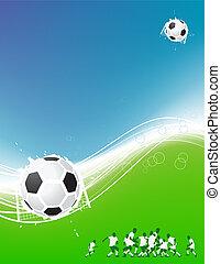 축구, 배경, 치고는, 너의, design., 선수, 통하고 있는, 들판, 축구 공