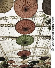 축제, 장식, 꽃, 우산