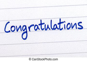 축하, 써진다, 와, 블루 잉크, 백색 위에서, paper.