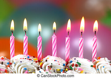 축하, 와, 기구, 초, 와..., 케이크