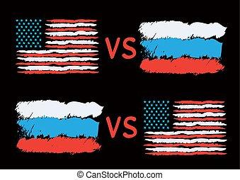 충돌, 사이의, 미국, 와..., 러시아