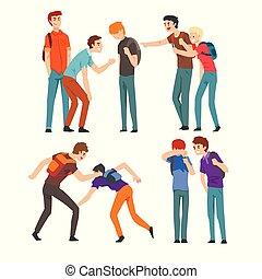 충돌, 사이의, 틴에이저, 소년, 비웃는 것, 그의 것, 동급생, 조롱, 와..., 괴롭히는 것, 에,...